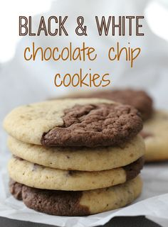 When you can't decide what cookie to make, make both! These black and white cookies combine two flavors; double chocolate chip AND chocolate chip for the perfect cookie. Perfect Chocolate Chip Cookies, Melting Chocolate Chips, Chocolate Chip Cookie Dough, White Chocolate Chips, Oatmeal Cookie Recipes, Best Cookie Recipes, Cupcake Recipes, Dessert Recipes, Just Desserts