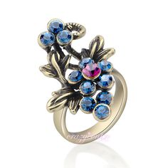 Retro vintage crystal flower cocktail rings fashion women Xmas gift R1020 #crazycenter #Cocktail