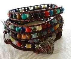 Beaded Leather Wrap Bracelet, Semi Precious Stone Beaded Wrap Bracelet, Chan Luu style bracelet 5 Times Wrap