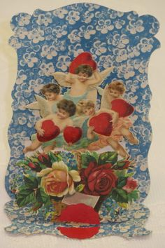 Vintage Valentine, Fold Down, 5 Cupids and Roses