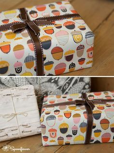 Custom-printed Acorn gift wrap designed by Nadia Hassan available for sale at Spoonflower. $15.00 per roll.