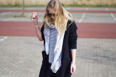Striped shirt, knitted cardigan, scarf, spring look, 1310bynora