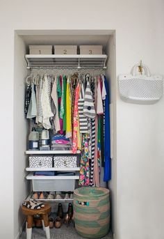 A great way to setup the inside of a small hall or coat closet or alcove like this one!