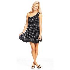 Juniors Trixxi Dot Lace 1 Shoulder Party Dress