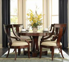 101181set Hemphill Cherry Wood 5 Pieces Round Pedestal Table Dining Set | New $ Sale $ Friends Discounted Price $