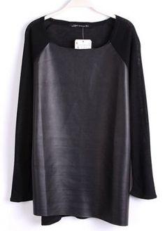 Black Long Sleeve Contrast PU Leather T-Shirt - Sheinside.com ($20-50) - Svpply