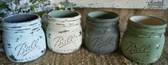 mason jars, fall decor, fall colored mason jars, distressed, painted and distressed mason jars on bathroom counter