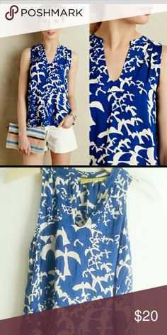 Anthropologie Maeve Tank Anthropologie Enna Tank Blue Bird Summer Blouse by Maeve. Used once! Anthropologie Tops