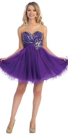 Purple Strapless Sweetheart Sparkly Beading Empirewaist Tulle Overlayed Short Prom Dress LT5331-PP - Special Dresses