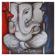 Buy online Paintings - Ganraj 1 - handpainted art painting - x from Fizdi Lord Ganesha Paintings, Ganesha Art, Krishna Art, Shri Ganesh, Ganesha Pictures, Ganesh Images, Alice And Wonderland Tattoos, Canvas Art Projects, Art Beat