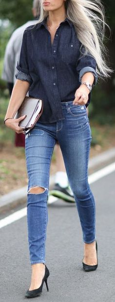 Casual Tuck Button Up Top, Ripped Skinnies & Pumps // #street #style #fashion