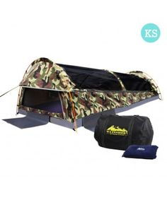 King Single Camping Swag - Camouflage Green