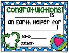 {FREE} Earth Helper Certificate: Perfect for celebrating Earth Day or for finishing off your Earth Unit!