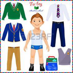 muñeca de papel: Muñeca de papel con un conjunto de ropa. Estudiante lindo chico. Plantilla para el corte. De vuelta a la escuela. Vectores