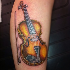 Violin tattoo by Mark Pennell serious Ink Shirehampton Bristol