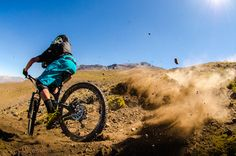 Photo of Nate Hills in Santiago, Chile. Nate Hills getting acquainted with the Chilean anti grip soil on stage two, day one of the Andes Pacifico enduro race.
