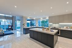 Spacious open plan kitchen in the Astor Grange with Classic Hamptons World of Style.