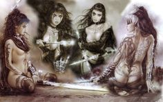 Luis Royo is a Spanish artist with gothic, fantasy and sci-fi oriented artistic incliantions. I am particularly fond of his style. Nearly all of his work is old-fashionedly handmade; perhaps that's why his art is so strong and vibrant. His women are so beautiful and diverse. This guy must have met some ultra fine women in his life. Enjoy a very small sample of his work.