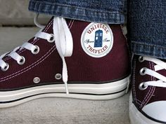 Replacing the logo on a pair of Converse All-Stars with a Dr. Who logo from The Hutch of Chaos: The Pros and Cons of Subtle Geekery