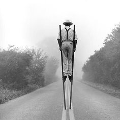 #gilmancontemporary current exhibition Rodney Smith ~ 45 year retrospective Don on stilts no.3, Monkton Maryland, 1999
