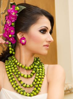 Suhaag garden floral jewelry design pink and green 1