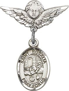 Sterling Silver Baby Badge with St Rosalia Charm and Angel wWings Badge Pin * Check this awesome product by going to the link at the image.