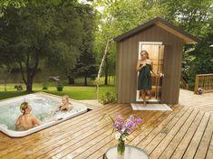 Outdoor Patio - Pacific Coast Sauna and Spa Sauna House, Sauna Room, Outdoor Sauna, Indoor Outdoor, Outdoor Spaces, Outdoor Living, Trek Deck, Hot Tub Patio, Traditional Saunas