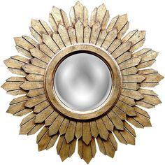 "Sabina Gold Leaf 30 1/2"" Round Sunburst Wall Mirror ($378) ❤ liked on Polyvore"