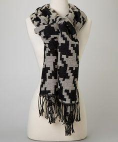 Take a look at this Black & White Houndstooth Scarf by Reborn Collection on #zulily today!