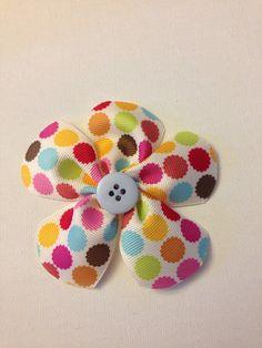 Boutique Flower Hair Bow- Polka Dot