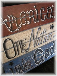 Large Wooden Hand Painted Patriotic Red White and Blue Sign. $56.00, via Etsy.