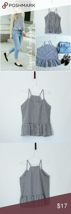 Avery High Neck Top Details: High-neck strappy gingham printed peplum top  Brand: Boutique Brand  Size: Medium Measurements: Bust/36 inches Lenght/24 inches  Size: Large Measurements: Bust/38 inches Lenght/24.5 inches  Condition: New and packaged Tops