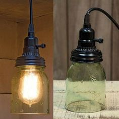 "5"" Green Mason Jar Swag Pendant Lamp - Our 5"" Mason Jar Swag Pendant Lamp features lightly stained green glass. Includes a 12-foot adapter with a switched socket. This lamp plugs into any wall outlet; no wiring required. Light bulbs are not included."
