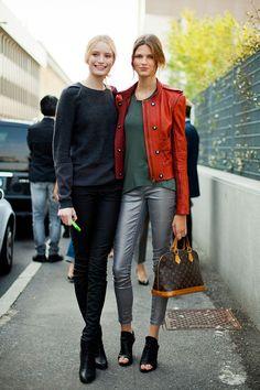 STREET STYLE SPRING 2013: MILAN FW - Models off duty keep it streamlined.