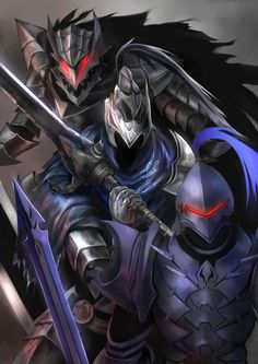 Three berserkers Wolf Knight, Knight Armor, Fantasy Armor, Dark Fantasy Art, Fantasy Character Design, Character Art, Fantasy Characters, Anime Characters, Berserker Fate
