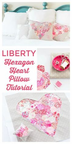 Liberty Heart Pillow Tutorial using EPP Hexagons and reverse applique techniques Easy Sewing Projects, Sewing Projects For Beginners, Quilting Projects, Sewing Hacks, Sewing Crafts, Quilting Tips, Pillow Tutorial, Heart Pillow, Leftover Fabric