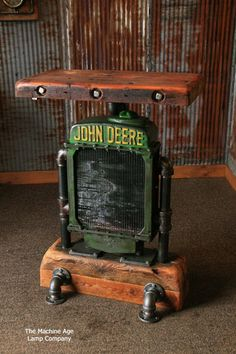 Antique Steampunk Industrial Table Stand, Hostess Station, Pub Table, Reclaimed Wood Top,John Deere #750