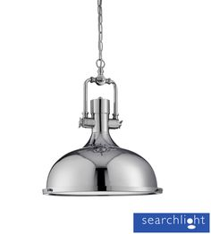 Searchlight 'Industrial' Ceiling Pendant Light, Chrome With Frosted Diffuser - 1322CC None