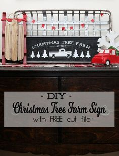 Simple DIY Christmas Tree Farm Sign with Silhouette Cut file and SVG file | Farmhouse Christmas Sign