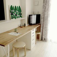 My Desk/PCデスク周り/DIY/ファブリックパネル/一人暮らし/カウンターテーブル...などのインテリア実例 - 2016-06-11 23:33:42 Ikea Table, Diy Table, Interior Architecture, Interior And Exterior, Desk Shelves, Office Organization, My New Room, Corner Desk, House Design
