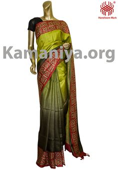 Description: This is a two shades of green gachi Tussar silk saree with kantha work on the boder. The Mannequin is wearing a blouse from our stylist's collection. Code No: S/DAE12 Visit our Website: http://kamaniya.org/
