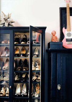 I just love the cabinet doors on the book shelves for shoes! No Closet, No Problem: 10 Fixes for Apartments with a Lack of Closets Renters Solutions