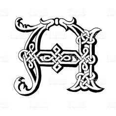 Celtic Fonts, Celtic Symbols, Celtic Art, Celtic Patterns, Celtic Designs, Celtic Alphabet, Abc Coloring Pages, Celtic Tattoos, Stock Foto