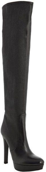 * Miu Miu Black Leather Overtheknee Platform Boots