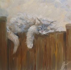 """Daily Paintworks - """"A Nap on a Fence"""" by Annette Balesteri"""