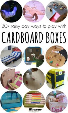 Rainy Day Activities Using Cardboard Boxes - Great Recycled Cardboard Box Crafts for Kids on Lalymom.com - I can't wait to try these!