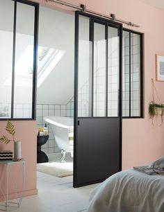 porte coulissante en acier vitre atelier noir 83 cm - Rail Porte Coulissante Suspendue