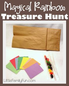 Little Family Fun: Magical Rainbow Treasure Hunt Can also add in speech sounds into this one for articulation therapy. Craft Activities For Kids, Preschool Crafts, Preschool Activities, Activity Ideas, Crafts For Kids, Easy Crafts, Preschool Colors, Preschool Bible, Party Activities
