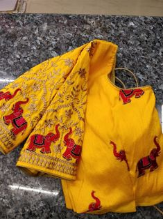 Designer Ready Made Blouse till 40 size... all over blouse elephants and handpart also elephant work. you can chose above fabrics