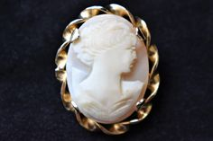 """Vintage Oval Cameo Brooch Carved Shell Coat Sweater Pin Gold Tone Delicate Retro Costume Jewelry 1.25"""" by DecoOwl5 on Etsy"""